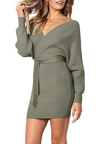 Luerman Knit Women Sweater Dress Plus Size Sexy V Neck Wrap Belted Batwing Long Sleeve Slim Wool Cashmere Tied Mini Fall Winter Sweater Dresses for Women (Olive-L) -