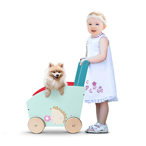 - labebe - Baby Walker for Girl&Goy, 4 Wheels Walker Toy, Push/Pull Wagon Cart for Kid, Baby Learning Walker, Toddler Push Toy for 1-3 Years Old, Outdoor Activity Walker Infant, Wooden Child Wagon Green
