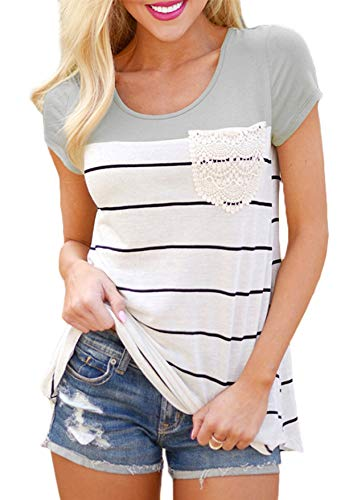 - Hiistandd Womens Summer Short Sleeve Shirt Striped Color Block Casual Tops with Pocket Gray
