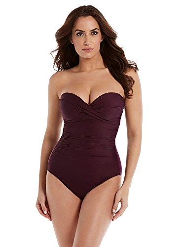 Miraclesuit Women's Rock Solid Madrid Bandeau Style One Piece Swimsuit with Detachable Straps and Underwire Molded Cup Bra, Shiraz, 14
