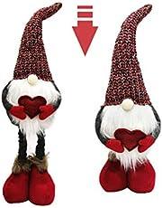 Valentine's Day Gnome, Maxspace Handmade Tomte with Retractable Leg Plush Swedish Irish Elf Faceless Doll Scandinavian Yule Santa Nisse Nordic Figurine Home Table Decor Valentine Gifts (RED)