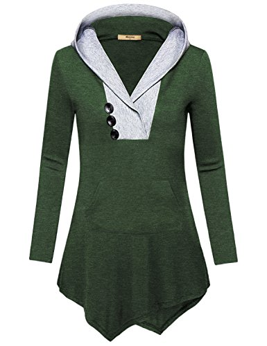 Miusey Boutique Clothing For Women, Ladies Plus Size Causal Business Soft Surrouding Tops Asymmetrical Tunic Hoodie Cover-up Regular Semi-Formal Feminine Long Sleeve Patchwork T Shirt Dark Green (Trim Utility Shirt)