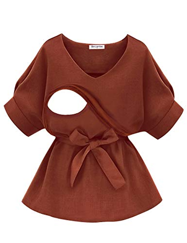 Becanbe Women's Maternity Nursing Blouse Roll Up Sleeve Comfy Clothes Breastfeeding Tee Shirt (Small,Rust) ()