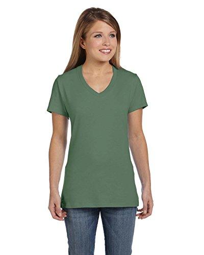 Hanes Women's Nano- V-Neck T-Shirt Vintage Green Large - Green Vintage Tee