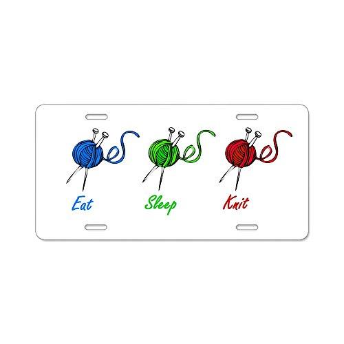 - CafePress - Eat Sleep Knit Aluminum License Plate - Aluminum License Plate, Front License Plate, Vanity Tag