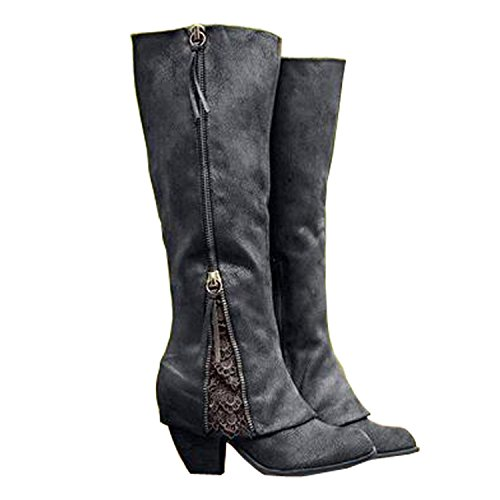 2017 Women Riding Boots Fold Over Design Near The Ankle With Lace Detailing At Edge  7 5 B M  Us  Black