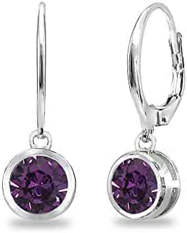 5be069372 Sterling Silver 6mm Round Bezel Dangle Leverback Earrings Made with Swarovski  Crystals