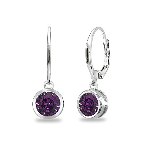 February Birthstone Lever Back Earrings - Sterling Silver Purple 6mm Round Bezel-Set Dangle Leverback Earrings Made with Swarovski Crystals