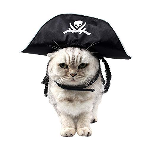 Cat Costume Pet Dog Halloween Pirate Hat - Black Pirate Cap with Wig