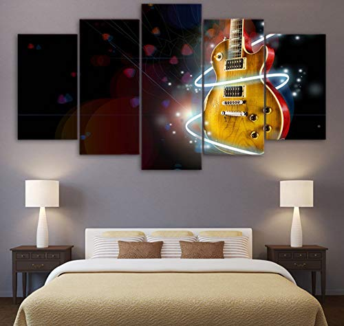 sansiwu X 5 Piece Abstract Cool Guitar Painting Home Decor Canvas Modern Wall Art Pictures Canvas Printed Music Aperture Poster Wall Decor