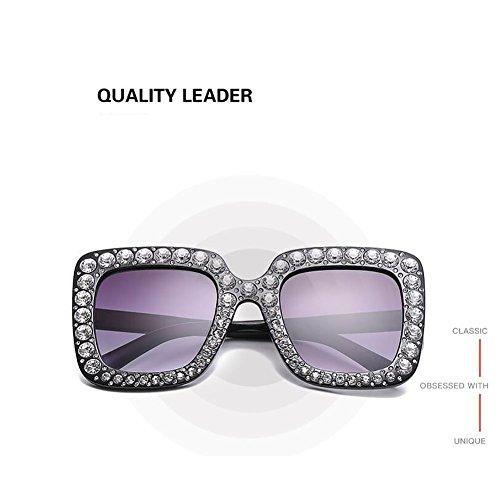 À Mode 67Mm Diamant Main Lady Sunglasses Femmes Parasols UV400 La White GAOJUAN Lunettes Cadre Carré Surdimensionné Lunettes ATFXw6q