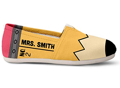 Gnarly Tees Women's Customizable Teacher Name Casual Shoes, Size 11 White