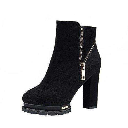 Ryse Women's Classic Temperament Side Zipper Decoration Heighten Heels Boots(35 M EU / 5.5 B(M) US, - Baby Spice Boots