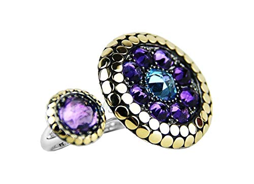 John Hardy Brand New Dot 18k Gold /Silver Two Finger Ring Amethyst/blue Topaz Size 7 $1,995 ()