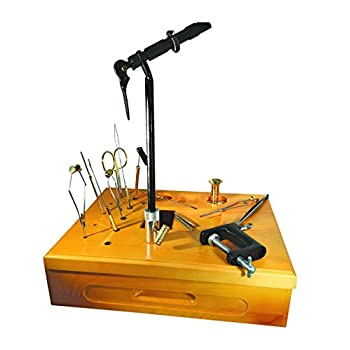 Image of Creative Angler Wooden Fly Tying Station with Super AA Vise for Fly Tying or Tying Flies