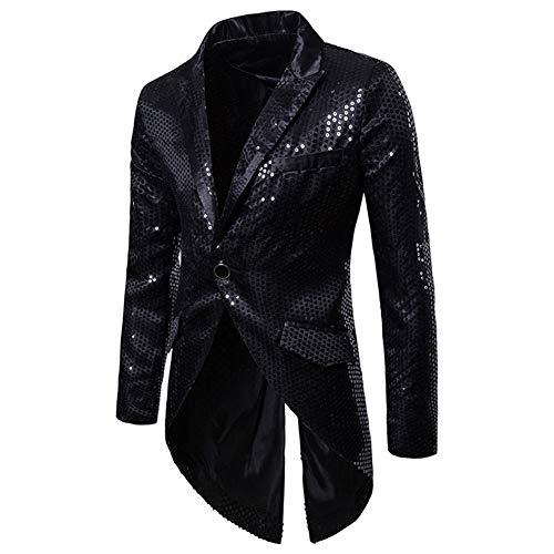 de À Cérémonie morue Costume Paillettes Queue De Habit Queue Veste Mariage Noir Blazer Homme Élégant qH07wpI