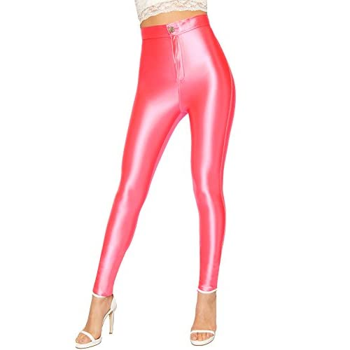 6e4644a46d634 WearAll Women s Shiny Disco Pants Trousers Leggings High Waist Stretch  Skinny Leg 80%OFF