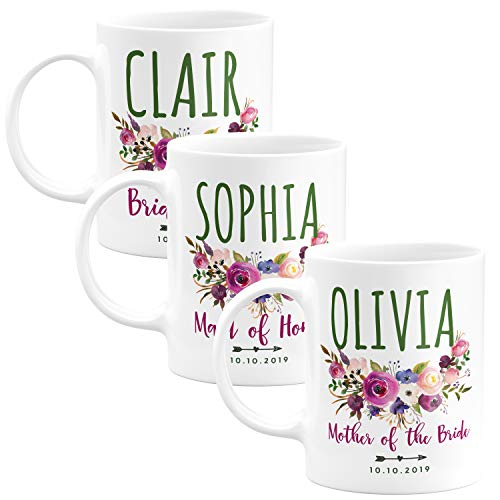 Personalized Wedding Gifts Bridesmaid Coffee Mug - 11oz & 15oz Large Ceramic Coffee Cup with Matching Coaster - Custom Bridesmaid Gifts, Bachelorette Party Favors - Design 1 - Set of 3