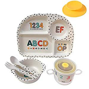 5-Piece Dinnerware with Kids Plate Bowl Cup Spoon Fork Space H HOMEWINS Bamboo Dinner Set for Children Cute BPA Free Baby Tableware Eco-Friendly and Dishwasher Safe