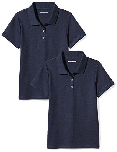 Price comparison product image Amazon Essentials Girls' Uniform 2-Pack Interlock Polo, Navy/Navy, S (6-7)