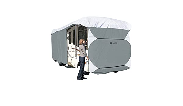 37-Feet RVs Classic Accessories 77663 Polypro III Grey Deluxe Class A Extra Tall RV Cover Fits 33-Feet Grey