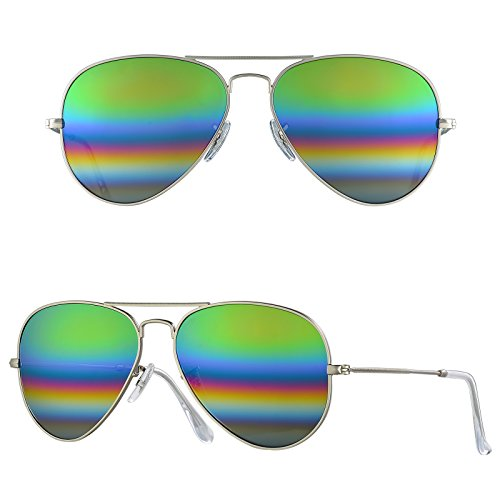 BNUS Corning natural glass New Pilot Sunglasses Italy made with Polarized Choices (Frame: Matte Silver / Lens: Green rainbow, - Non For Sunglasses Pilots Polarized