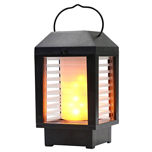 Solar Flame Lantern Lights Outdoor, AVEKI LED Flickering Flame Torch Lights Solar Powered Waterproof Hanging Decorative Atmosphere Lamp for Pathway Garden Deck Christmas Holiday Party (Black) by AVEKI