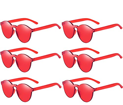 One Piece Rimless Sunglasses Transparent Candy Color Tinted ()