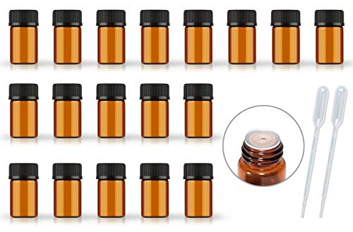 50Pack Set 1ML 2ML 3ML 5ML Amber Glass Bottle with Orifice Reducer and Cap Small Essential Oil Vials (2ML)