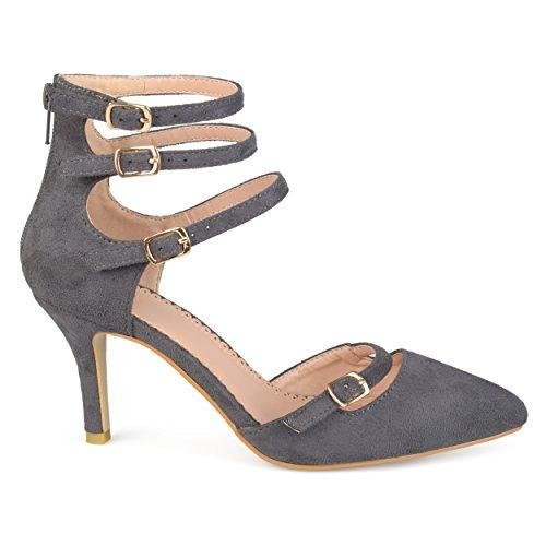 (Brinley Co. Womens Pointed Toe Faux Suede Multi-Strap High Heels Grey, 8.5 Regular US)