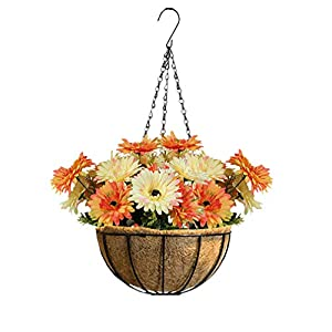 Mynse Hanging Artificial Gerbera Flowerpot for Home Garden Indoor Thankgiving Christmas Decoration Hanging Basket Artificial Barberton Daisy Flower Orange and Milky White 52