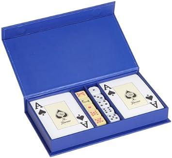 Mr - Estuche cartas-2 (four) + dados-2 azul 18x10x3cm: Amazon.es: Juguetes y juegos