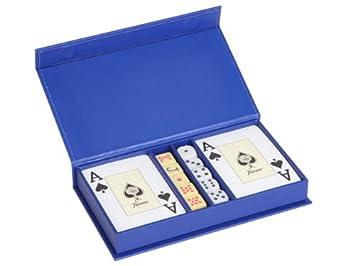 Mr - Estuche cartas-2 (four) + dados-2 azul 18x10x3cm ...