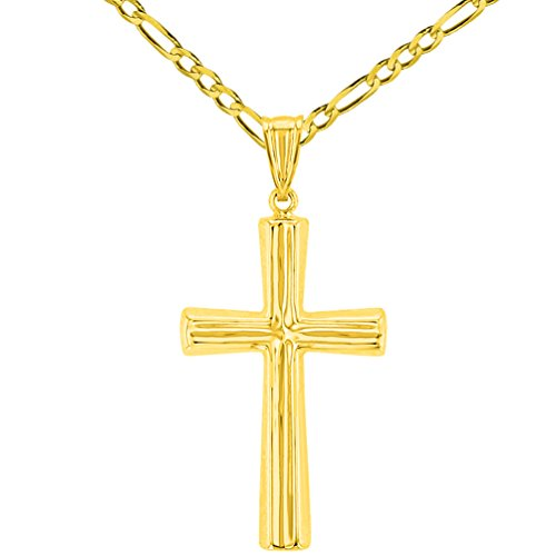 Polished 14K Yellow Gold Plain Religious Cross Pendant with Figaro Chain Necklace, 24'' by JewelryAmerica (Image #5)