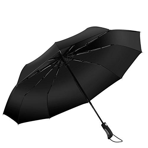 Punming Umbrella,Windproof Compact Travel Umbrella 60MPH/300T Auto Open Close Folding Umbrella (Black) by Punming (Image #1)