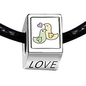 Chicforest Silver Plated Two Love Doves Photo LOVE Charm Beads Fits Pandora Biagi Troll Chamilia Kay's Beads Charms