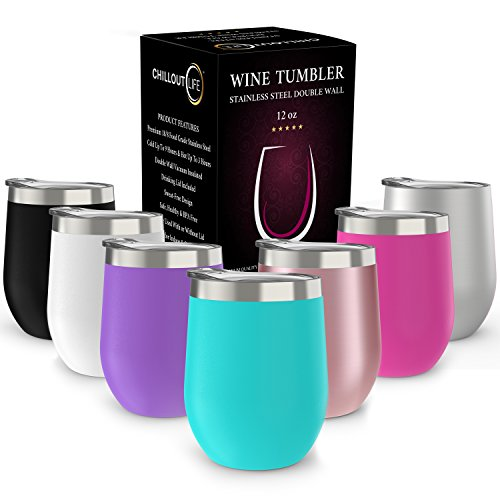 Teal Tumbler Set - Stainless Steel Stemless Wine Glass Tumbler with Lid, 12 oz   Double Wall Vacuum Insulated Travel Tumbler Cup for Coffee, Wine, Cocktails, Ice Cream   Sweat Free, Unbreakable, BPA Free, Powder Coated