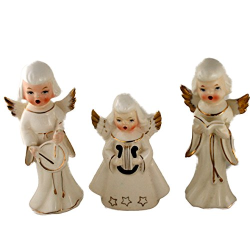 Vintage Gilded White Ceramic Singing Angel Trio Figurines Made in - Trio Angel
