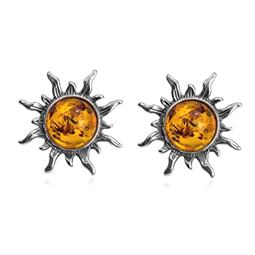 (Amber Sterling Silver Flaming Sun Stud)