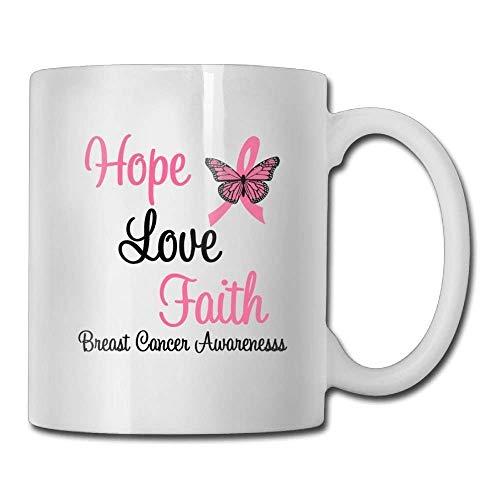 HOJJP Coffee Mugs Faith Love Hope Breat Cancer Awareness Custom Coffee Mug 11 Oz Women's Birthday Ceramic Gifts Tea -