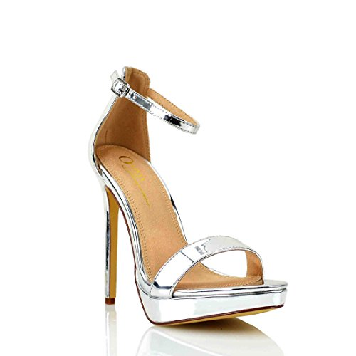 Five Inch Heel - Women's Dress Sandal | Round Open Toe | One Band Thin Ankle Strap | Platform Stiletto Heel Sandals (10, Silver Metallic)