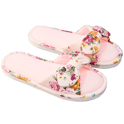 Open Toe Indoor Slippers, Women Fashion Floral Open-Toes Cotton Flax Flat House Slipper Pink-B 38-39