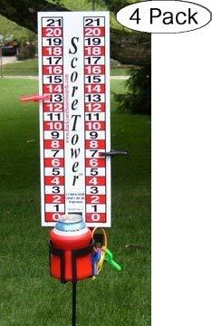 ScoreTower - Scoreboard & Drinkholder for Bocce Ball (Fоur Расk) by Backyard Scoreboards