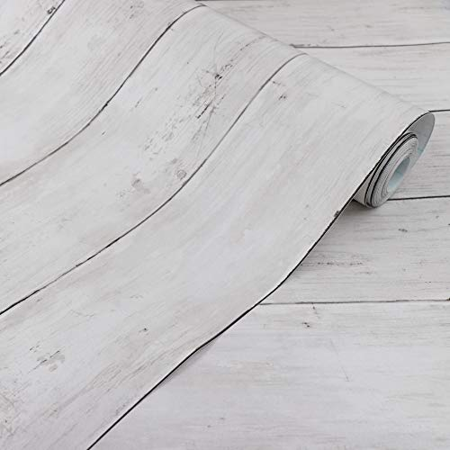 White Grey Wood Contact Paper 17.71 in X 32.8 Ft Self-Adhesive Removable Wood Peel and Stick Wallpaper Decorative Wall Covering Vintage Wood Panel Interior Film Leave No Trace Surfaces Easy to Clean