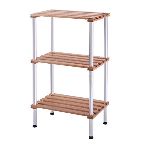 HLA Collection Bathroom Storage Tower Free Standing - Slatted Shelves Organizer is Best for Office, Bedroom, Laundry Room Bundle w Floor Protector Pads (3 Shelf)
