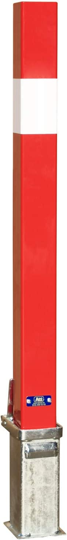 Pilona desmontable de hierro. Bolardo extraíble roja y blanca con cerradura y llave universal (1 Pilona extraíble roja/blanca)