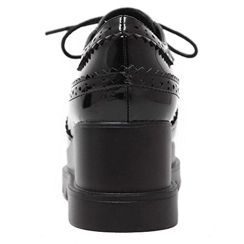 VogueZone009 Damen Rein Lackleder Mittler Absatz Schnüren Quadratisch Zehe Pumps Schuhe Schwarz