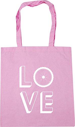 HippoWarehouse Love Cycling Tote Shopping Gym Beach Bag 42cm x38cm, 10 litres Classic Pink