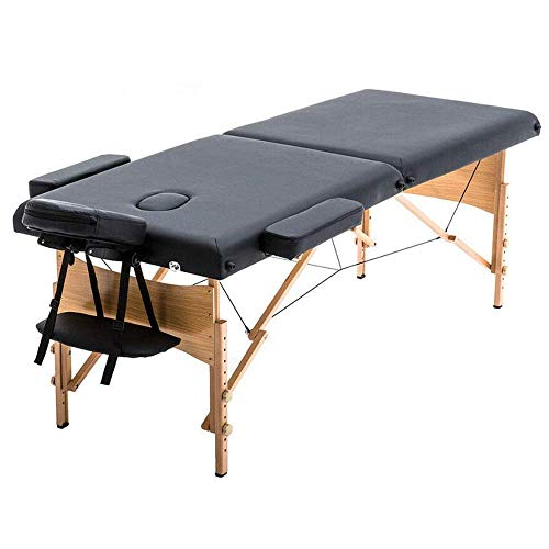 Portable Massage Table Spa Bed Foldable 73 Inch Height Adjustable Massage Bed with Solid Wooden Legs and Carry Case Tattoo Salon Table Bed Hold Up to 450LBS