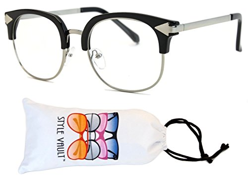 [V124-vp Wayfarer Cateye Style Clear Lens Eyeglasses (T2837H Black/silver-clear, uv400)] (60s Fashion Mens)